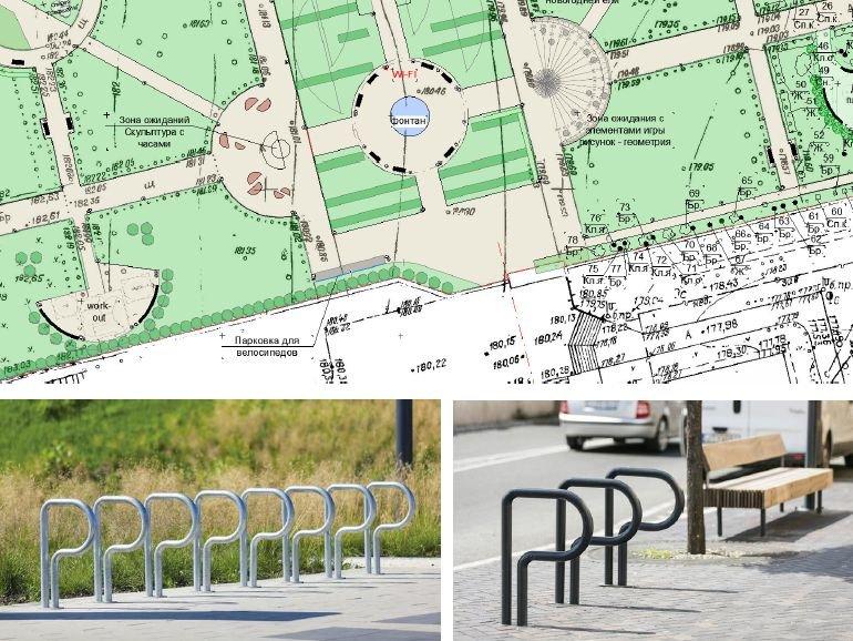 Велопарковка и скамейки-половинки: каким станет сквер у гимназии № 53